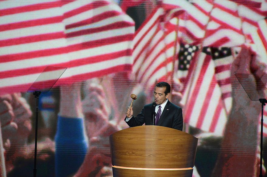 Antonio R. Villaraigosa, Chair of the 2012 Democratic National Convention Committee and Mayor of Los Angeles, Calif. officially opens the session where President Barack Obama accepts his party's nomination for a second term as President of the United States at the Democratic National Convention in the Time Warner Arena in Charlotte, N.C., on Thursday, September 6, 2012. (Andrew Geraci/ The Washington Times)