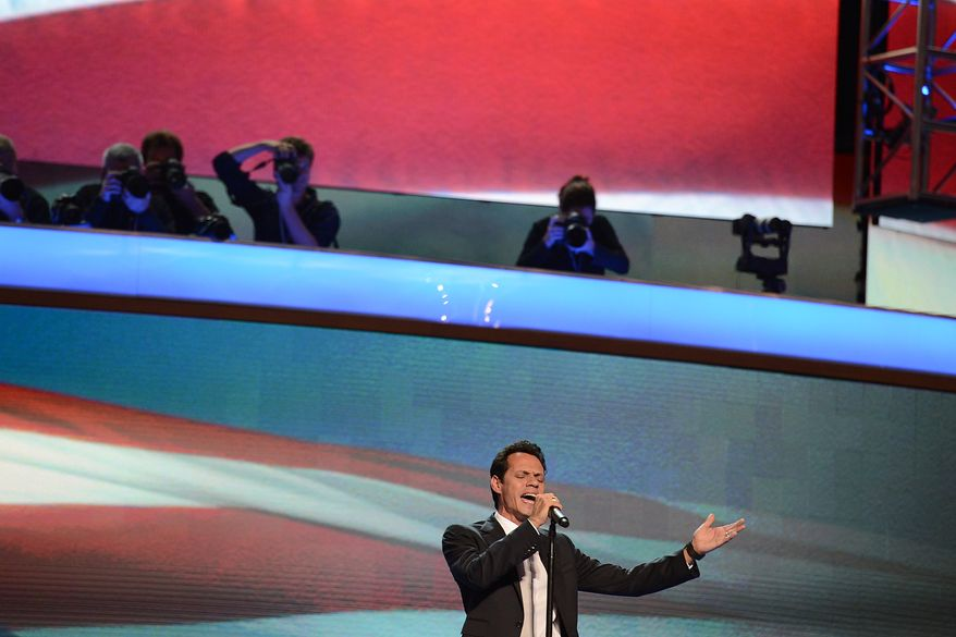 Recording artist Marc Anthony sings the National Anthem on the night that President Barack Obama accepts his party's nomination for a second term as President of the United States at the Democratic National Convention in the Time Warner Arena in Charlotte, N.C., on Thursday, September 6, 2012. (Barbara Salisbury/ The Washington Times)
