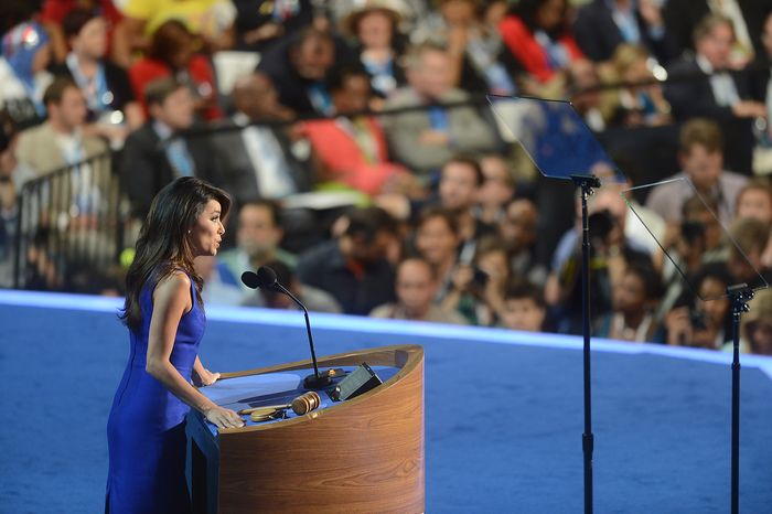** FILE ** Actress Eva Longoria voices her support for President Barack Obama at the Democratic National Convention in the Time Warner Cable Arena in Charlotte, N.C., on Thursday, Sept. 6, 2012. (Barbara Salisbury/The Washington Times)