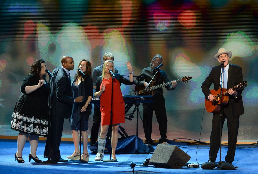James Taylor performs at the Democratic National Convention. (Andrew Geraci/ The Washington Times)