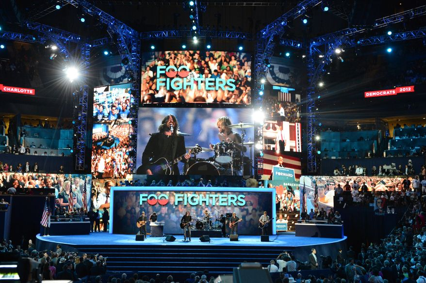 Dave Grohl and the Foo Fighters perform at the Democratic National Convention. (Andrew Geraci/ The Washington Times)