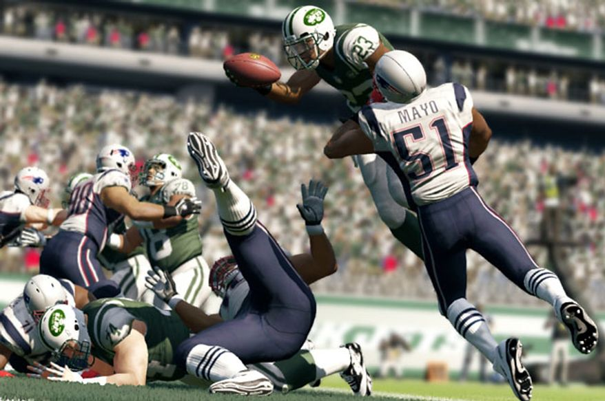 Jets versus Patriots in the video game Madden NFL 13.