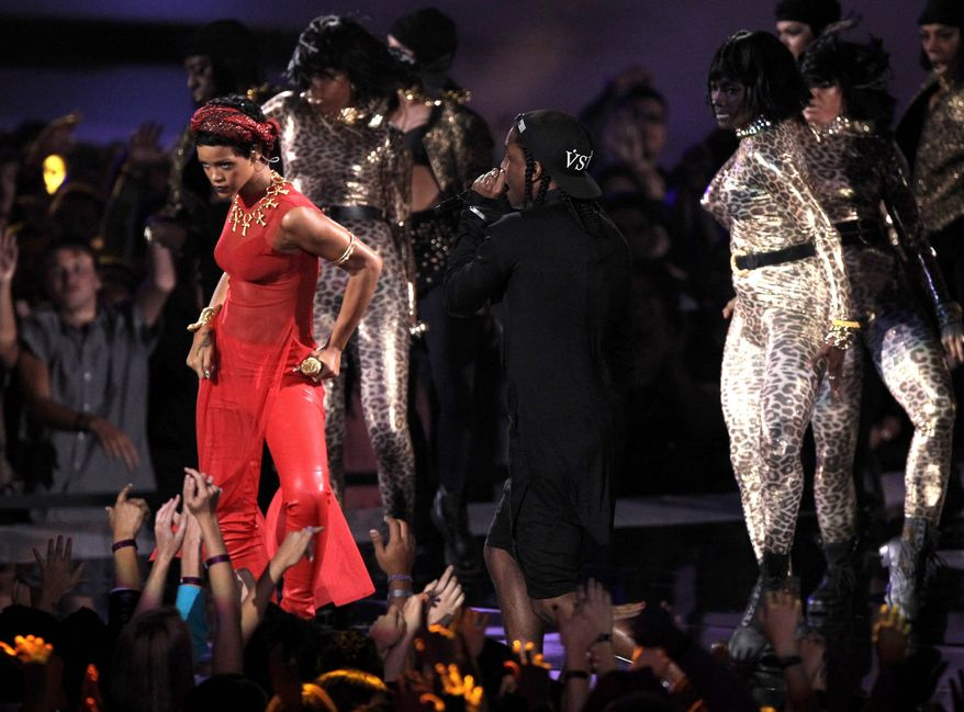Rihanna, left, and A$AP Rocky perform at the MTV Video Music Awards on Thursday, Sept. 6, 2012, in Los Angeles. (Photo by Matt Sayles/Invision/AP)