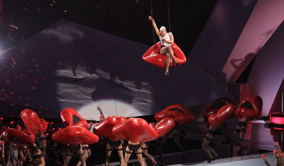 Pink performs at the MTV Video Music Awards on Thursday, Sept. 6, 2012, in Los Angeles. (Photo by Matt Sayles/Invision/AP)