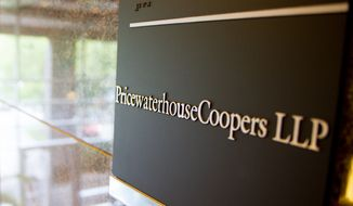 A sign marks the offices of PricewaterhouseCoopers in Franklin, Tenn., on Wednesday, Sept. 5, 2012. (AP Photo/Erik Schelzig)