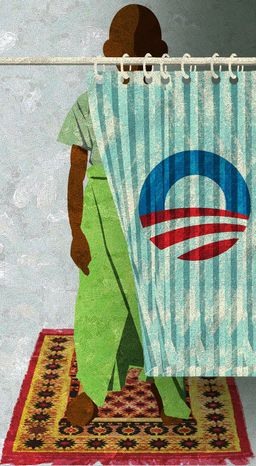 Illustration Muslim Obama by Alexander Hunter for The Washington Times