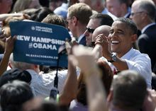 President Barack Obama shakes hands at a campaign event at Strawbery Banke Museum in Portsmouth, N.H., Friday, Sept. 7, 2012. (AP Photo/Carolyn Kaster)