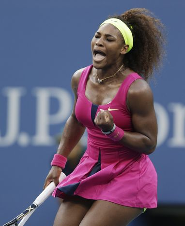 Serena Williams reacts while playing Italy's Sara Errani during a semifinal match at the 2012 US Open tennis tournament,  Friday, Sept. 7, 2012, in New York. (AP Photo/Charles Krupa)