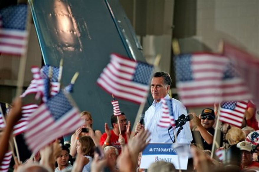 Republican presidential nominee, former Massachusetts Gov. Mitt Romney addresses the audience at a rally with the GOP team at the Military Aviation Museum in Virginia Beach, Va., Saturday, Sept. 8, 2012. (AP Photo/Rich-Joseph Facun)