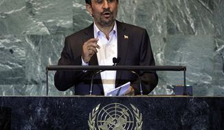 ** FILE ** In this Thursday, Sept. 22, 2011, file photo, Iran's President Mahmoud Ahmadinejad addresses the 66th session of the United Nations General Assembly. (AP Photo/Richard Drew, File)