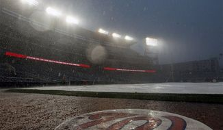 The tarp is on the field during a rain delay during the ninth inning of a baseball game between the Miami Marlins and the Washington Nationals at Nationals Park, Saturday, Sept. 8, 2012, in Washington. (AP Photo/Alex Brandon)