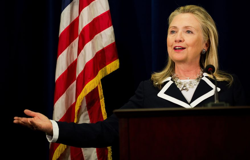 U.S. Secretary of State Hillary Rodham Clinton delivers remarks during a press conference at the U.S. Consulate in Vladivostok, Russia, on Sunday, Sept. 9, 2012. (AP Photo/Jim Watson, Pool)