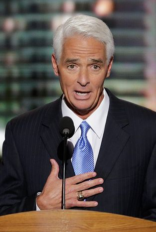 Former Florida Gov. Charlie Crist, a Republican-turned-independent, seen here Thursday addressing the Democratic National Convention in Charlotte, N.C., polls well among Sunshine State Democrats. (Associated Press)