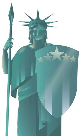 Illustration In Defense of America by Linas Garsys for The Washington Times