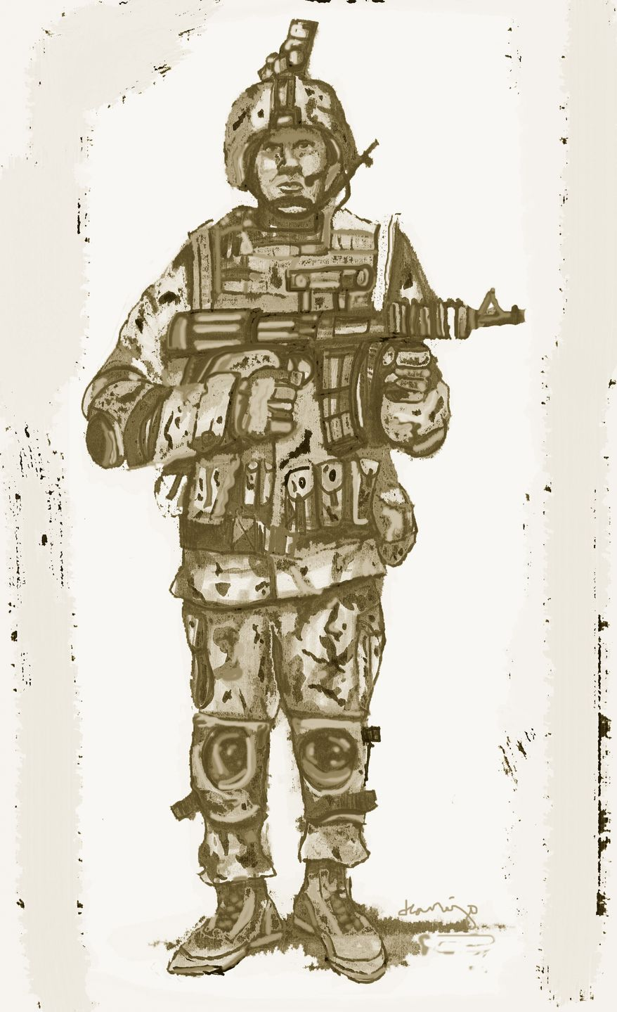 Illustration Brave Soldier by John Camejo for The Washington Times
