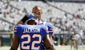 Buffalo Bills running back Fred Jackson and wide receiver David Nelson before an NFL football game between the New York Jets and the Buffalo Bills at MetLife Stadium Sunday, Sept. 9, 2012, in East Rutherford, N.J. (AP Photo/Mel Evans)