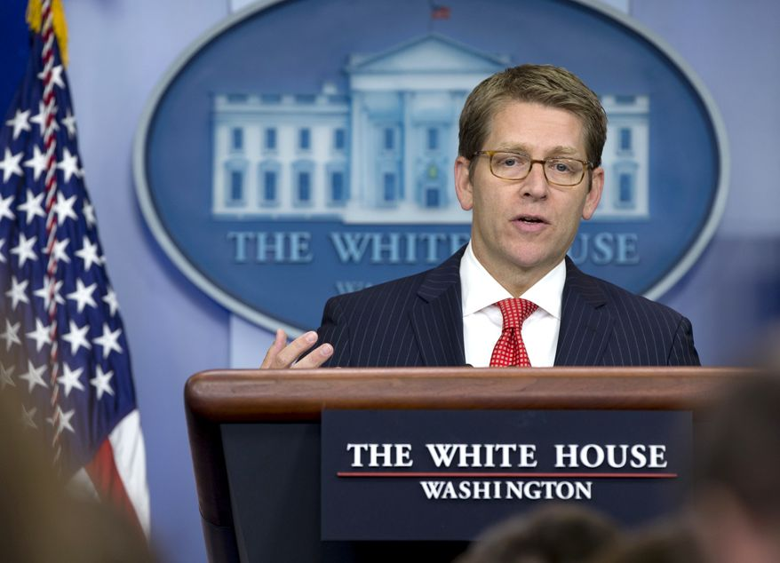 White House press secretary Jay Carney gives his daily news briefing at the White House in Washington on Monday, Sept. 10, 2012. (AP Photo/Carolyn Kaster)