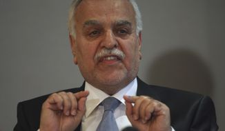 Iraqi Vice President Tariq al-Hashemi speaks to the media during a news conference in Ankara, Turkey, on Monday, Sept. 10, 2012. (AP Photo/Burhan Ozbilici)