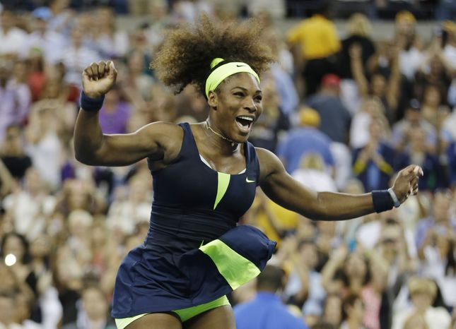 Serena Williams reacts after beating Victoria Azarenka, of Belarus, in the championship match at the 2012 US Open tennis tournament, Sunday, Sept. 9, 2012, in New York. Two points from defeat, Williams suddenly regained her composure to come back and win the last four games, beating No. 1-ranked Azarenka 6-2, 2-6, 7-5 on Sunday for her fourth U.S. Open title and 15th Grand Slam title overall. (AP Photo/Mike Groll)