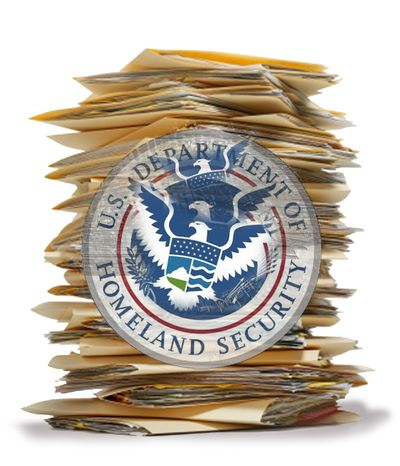 Illustration Homeland Security Bureaucracy by John Camejo for The Washington Times