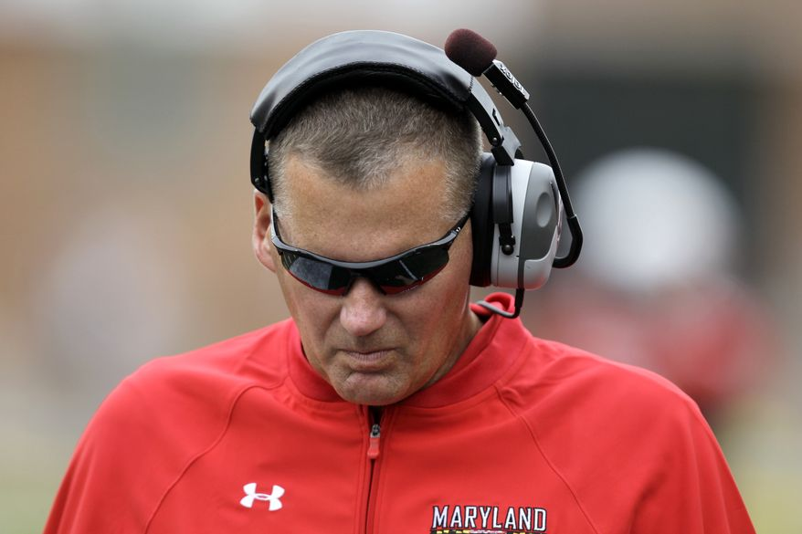 Maryland head coach Randy Edsall is seen on the sideline during the third quarter of a NCAA college football game agianst William & Mary, Saturday, Sept. 1, 2012, in College Park, Md. Maryland won 7-6. (AP Photo/Luis M. Alvarez)
