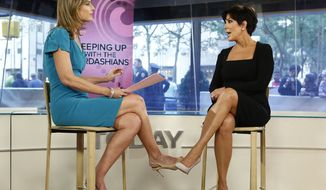 "NBC's ""Today"" host Savannah Guthrie (left) interviews TV personality Kris Jenner of ""Keeping Up with the Kardashians"" on the show in New York on Sept. 11, 2012.  (Associated Press/NBC)"