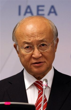 Director General of the International Atomic Energy Agency, IAEA, Yukiya Amano of Japan addresses the media during a news conference after a meeting of the IAEA board of governors at the International Center, in Vienna, Austria, Monday, Sept. 10, 2012