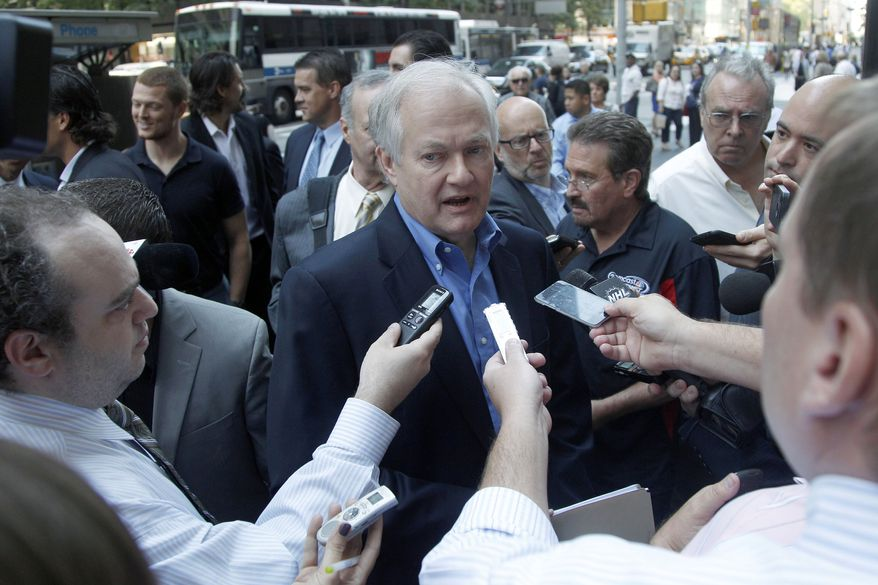 NHL Players Association executive director Donald Fehr speaks to reporters as he arrives at NHL headquarters, Wednesday, Sept. 12, 2012 in New York. The NHL and the players' association have resumed negotiations in an effort to avoid a lockout this weekend. (AP Photo/Mary Altaffer)