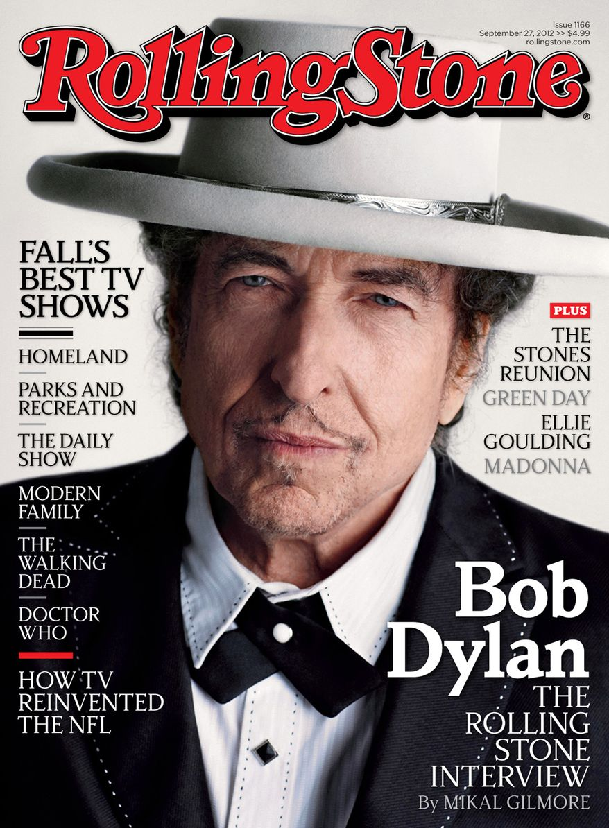 """Singer-songwriter Bob Dylan appears on the cover of the October 2012 issue of Rolling Stone, promoting his new album, """"Tempest,"""" released this week. The magazine hits newsstands Friday. (AP Photo/Wenner Media LLC)"""