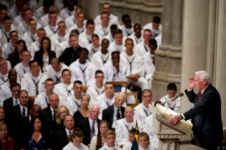 The last astronaut to walk on the moon, Capt. Eugene Cernan speaks during the memorial service for Neil Armstrong. (Andrew Harnik/The Washington Times)