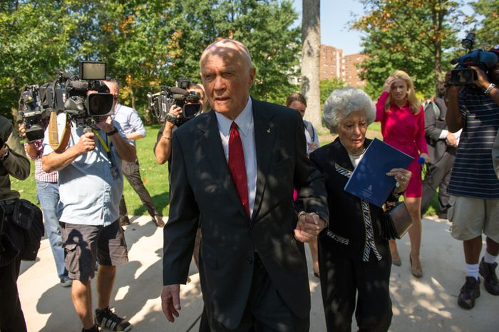 Astronaut Sen. John Glenn (D-Ohio) and his wife Annie depart after a memorial service for Neil Armstrong at the National Cathedral, Washington, D.C., Thursday, September 13, 2012. (Andrew Harnik/The Washington Times)