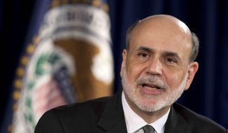 Federal Reserve Chairman Ben S. Bernanke speaks during a news conference in Washington on Thursday, Sept. 13, 2012, following the Federal Open Market Committee meeting to present the FOMC's current economic projections and to provide additional context for the FOMC's policy decision. (AP Photo/Manuel Balce Ceneta)