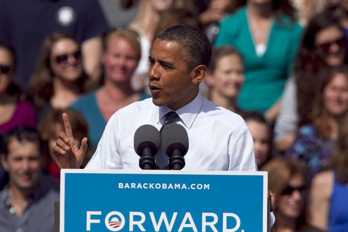 President Obama speaks at a campaign rally in Golden, Colo., on Thursday, Sept. 13, 2012. (AP Photo/Ed Andrieski)