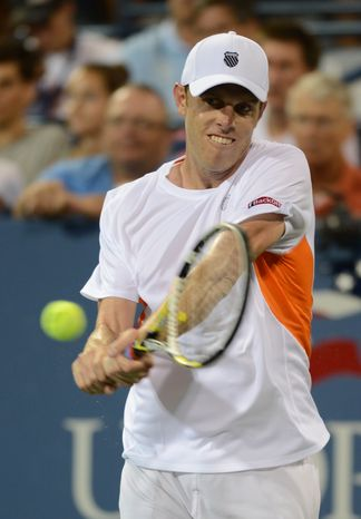 Sam Querrey n the third round of play at the 2012 US Open tennis tournament, Saturday, Sept. 1, 2012, in New York. (AP Photo/Henny Ray Abrams)