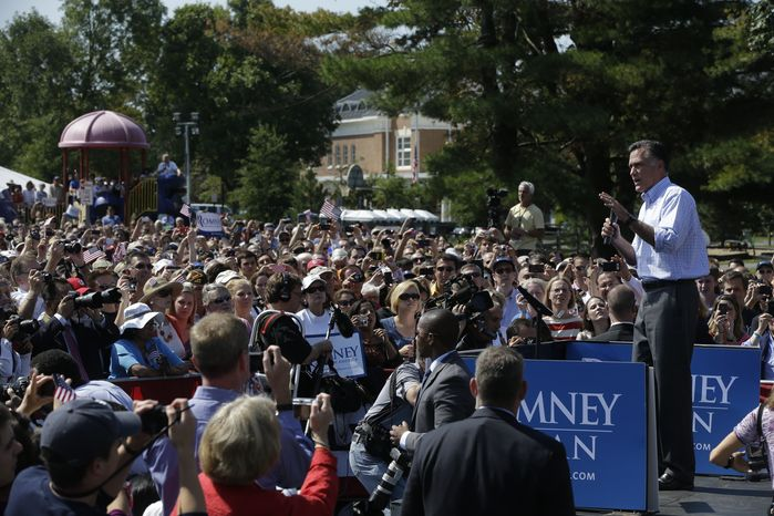 Republican presidential candidate Mitt Romney campaigns at Van Dyck Park in Fairfax on Thursday, Sept. 13, 2012. (AP Photo/Charles Dharapak)