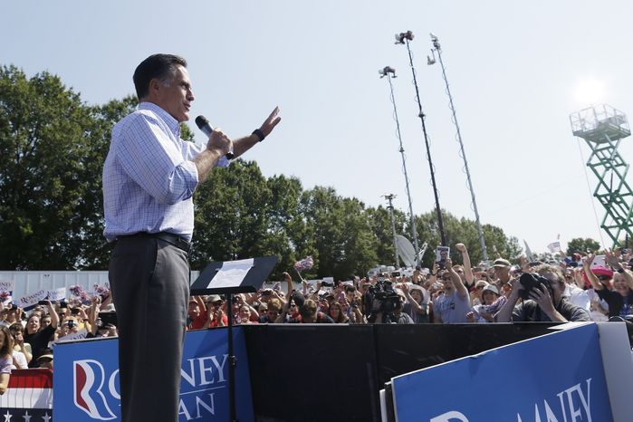 Republican presidential candidate Mitt Romney campaigns Sept. 13, 2012, at Van Dyck park in Fairfax, Va. (Associated Press)