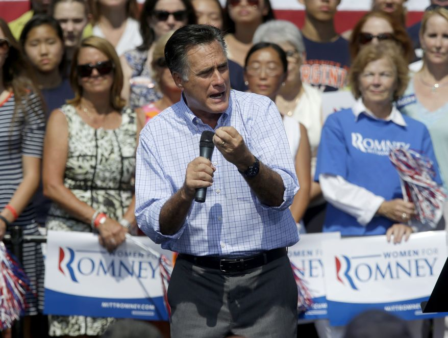 Republican presidential candidate Mitt Romney speaks Sept. 13, 2012, during a campaign event at Van Dyck Park in Fairfax, Va. (Associated Press)