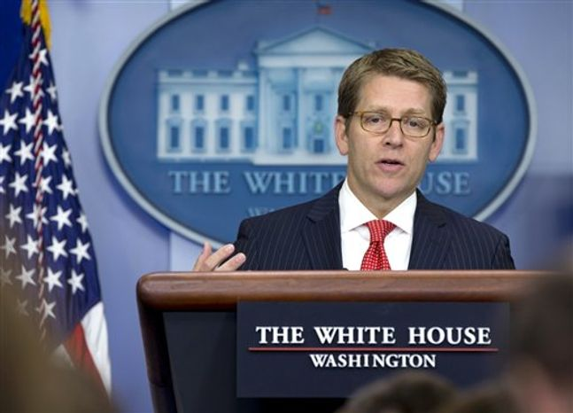 ** FILE ** White House Press Secretary Jay Carney speaks during his daily news briefing at the White House in Washington, Monday, Sept. 10, 2012. (AP Photo/Carolyn Kaster)