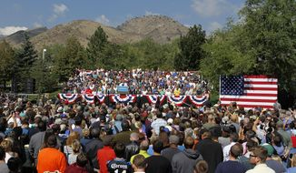 President Barack Obama speaks at a campaign rally in Golden, Colo., Thursday, Sept. 13, 2012. (AP Photo/Ed Andrieski)