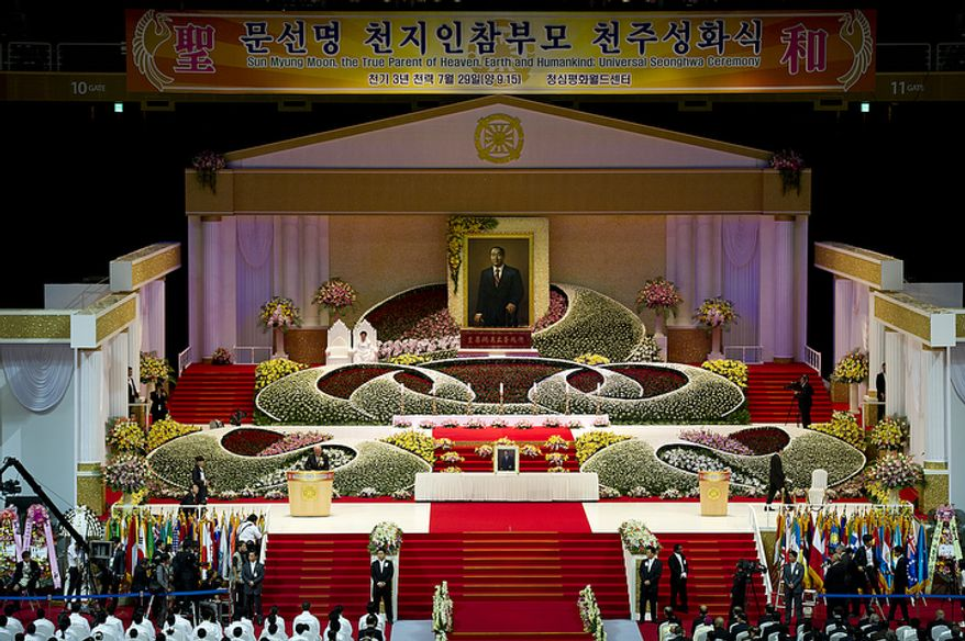 The Seonghwa, or ascension, ceremony, known as the traditional funeral in western terms, for the late Rev. Sun Myung Moon was held Saturday, Sept. 15, 2012 at the Cheong Shim Peace World Center in Gapyeong, Korea. Thousands of mourners from countries around the world came to witness the event and say goodbye to the head of the Unification Church. Some 15,000 fit into the stadium, where the funeral was held, with another 10,000 to 15,000 expected to be watching live simulcasts around the complex. (Barbara L. Salisbury/The Washington Times)