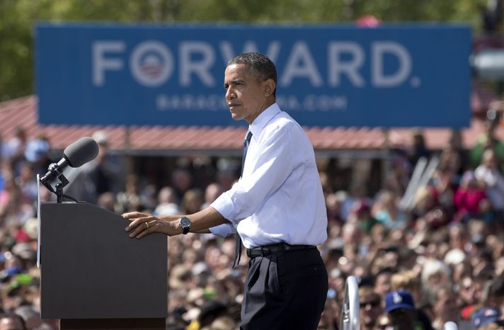 President Obama speaks at a campaign event in Golden, Colo., on Thursday, Sept. 13, 2012. (AP Photo/Carolyn Kaster)