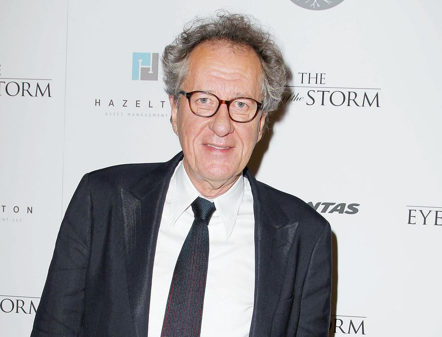 """** FILE ** This Sept. 4, 2012 photo released by Starpix shows actor Geoffrey Rush at the New York premiere of Sycamore Entertainment Group's """"The Eye of the Storm"""" at the Museum of Modern Art. Rush, who played speech therapist Lionel Logue in the Oscar-winning film """"The King's Speech"""" has repeatedly said he first found the script left in brown paper wrapping on his Australia home's doorstep. Now, he says other aspiring filmmakers have followed suit, leaving all manner of projects at his front door in Melbourne since the movie first came out in 2010. (AP Photo/Starpix, Amanda Schwab)"""