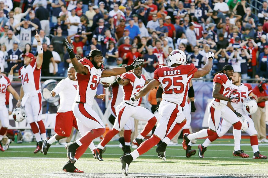 associated press Safety Kerry Rhodes and the Cardinals improved to 2-0 on the season after Patriots kicker Stephen Gostkowski missed a 42-yard field-goal with 6 seconds left.