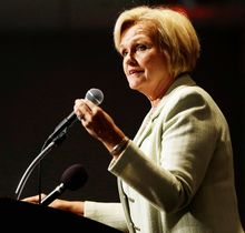 Sen. Claire McCaskill, Missouri Democrat, speaks during a meeting of the St. Louis Regional Chamber and Growth Association Sept. 7, 2012, in St. Louis. McCaskill is running for re-election against Republican challenger, Rep. Todd Akin. (Associated Press)
