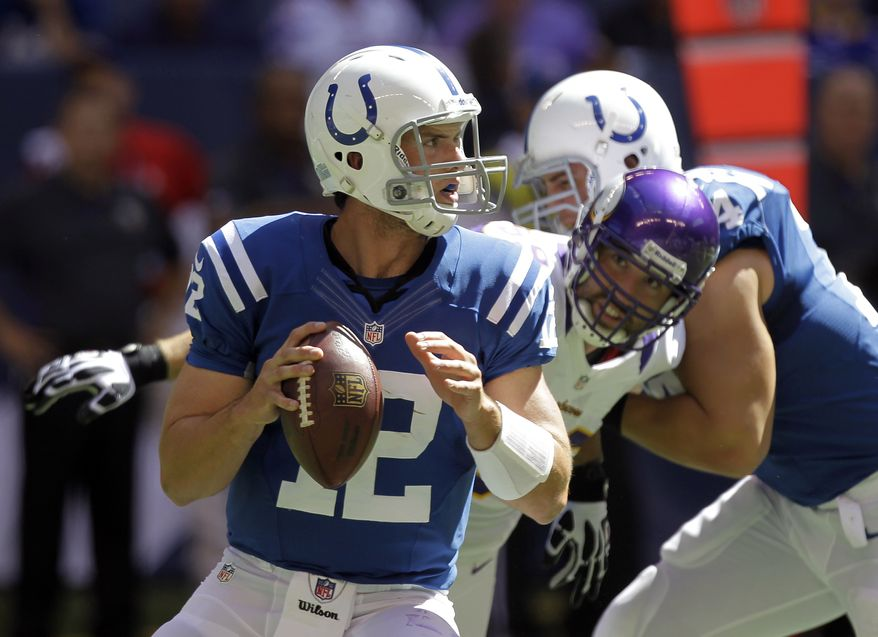 Indianapolis Colts' Andrew Luck looks to pass during the first half of an NFL football game against the Minnesota Vikings in Indianapolis, Sunday, Sept. 16, 2012. (AP Photo/Michael Conroy)