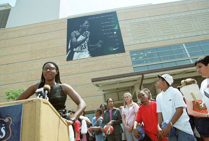 Chamique Holdsclaw, shown in the District as a member of the Washington Mystics in 2000, was a six-time WNBA All-Star. Her career was derailed by clinical depression, and now she is an advocate of erasing the stigma of the condition and other mental-health issues. (The Washington Times)