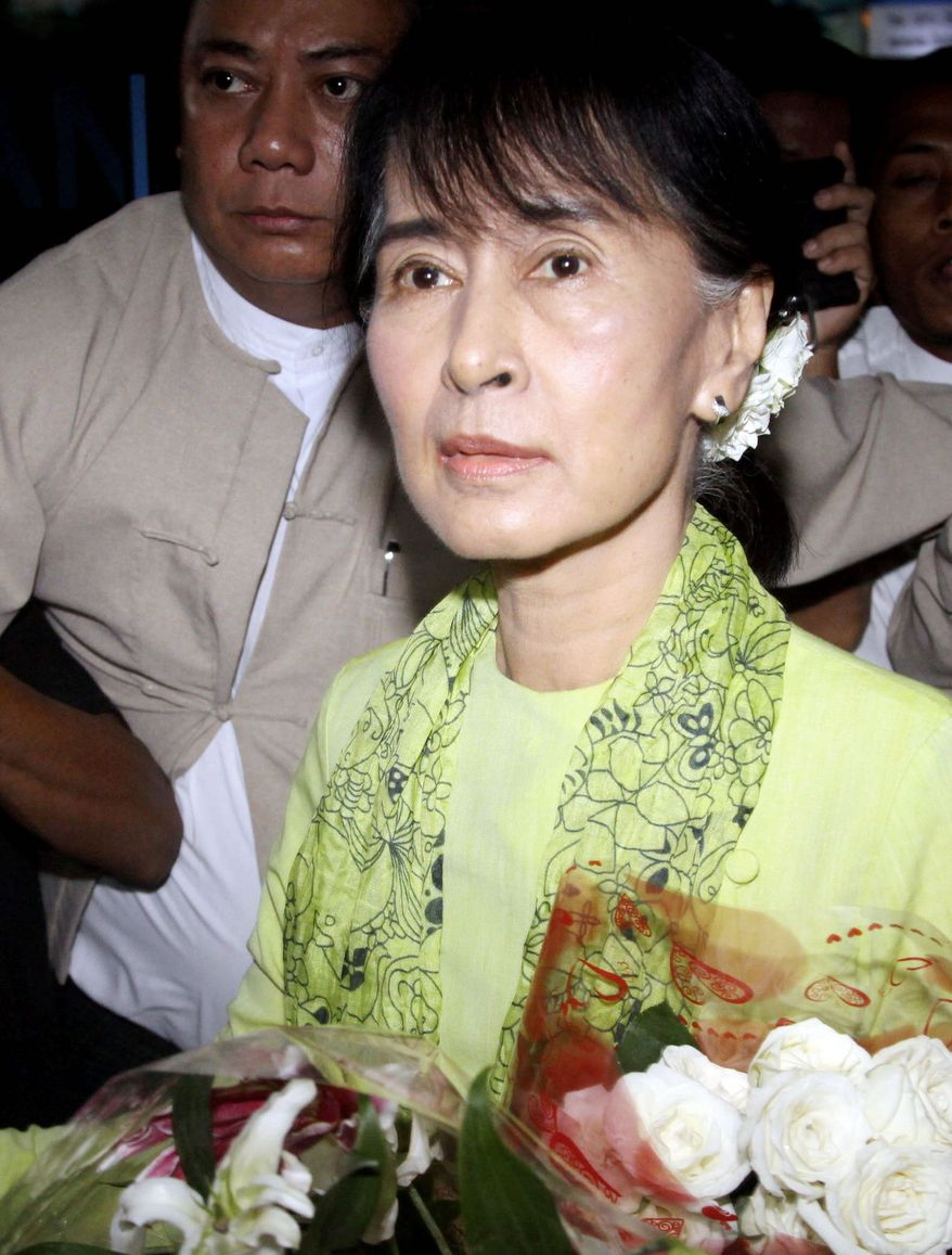 Myanmar opposition leader Aung San Suu Kyi is in Washington, where she will receive the Congressional Gold Medal and meet with officials. (Associated Press)