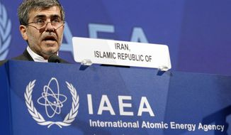 Fereidoun Abbasi-Davani, Iran's nuclear chief, delivers a speech on Monday, Sept. 17, 2012, at the general conference of the International Atomic Energy Agency at the International Center in Vienna, Austria. (Associated Press)