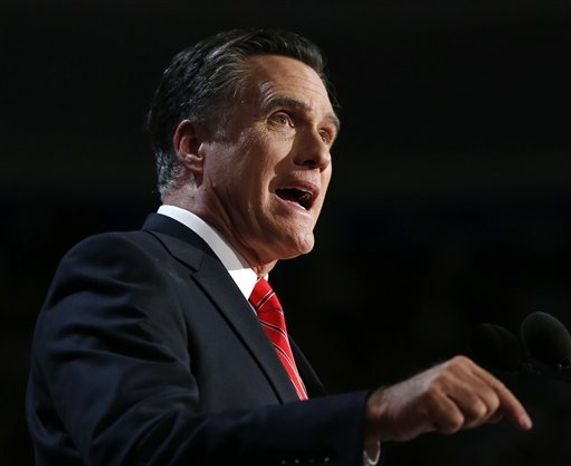 **FILE** Republican presidential candidate Mitt Romney speaks Aug. 30, 2012, at the Republican National Convention in Tampa, Fla