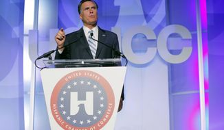 Republican presidential candidate Mitt Romney addresses the U.S. Hispanic Chamber of Commerce in Los Angeles on Sept. 17, 2012. (Associated Press)